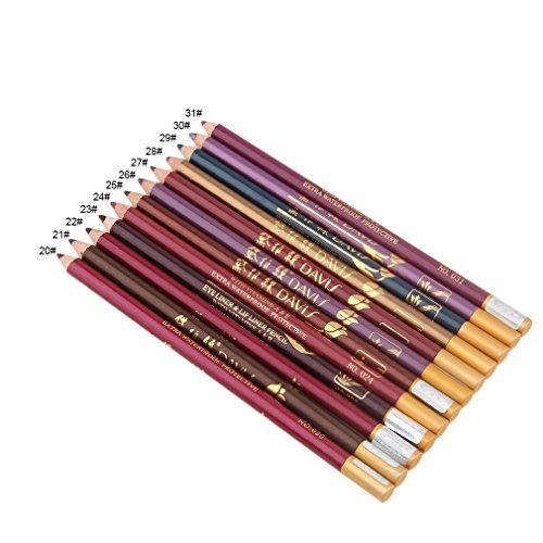 Tweeërlei gebruik 12pcs / set modieuze eyeliner make-up gereedschap accessoires langdurige lip eyeliner potlood perfecte geschenken voor vrouwen