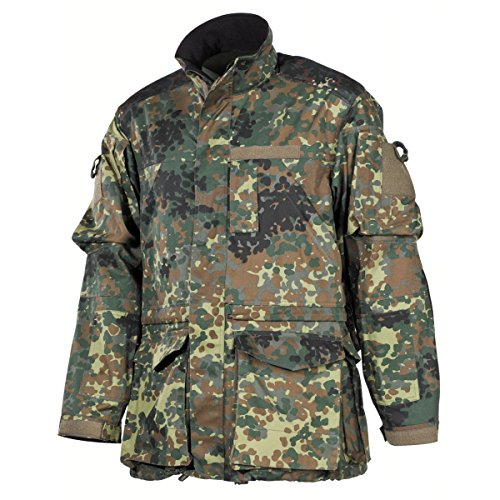 MFH BW Kampfjacke Einsatz/Übung, lange Version Bundeswehr Einsatzjacke Army Outdoor Jacke tArbeitsjacke Flecktarn S-3XL (XXL)