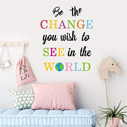 TOARTi Be The Change You Wish to See in The World Wall Decals Inspirational Quotes Wall Stickers product image