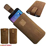 MX Brown Genuine Leather Slim Case for Medion Life