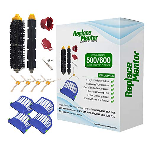 ReplaceMentor 10 Pack Replacement Parts for iRobot Roomba 600 Series, Filter Side Brush & Bristle and Beater Brush Accessories Kit for Roomba 675 690 680 670 660 655 651 650 630 620 595 529 528