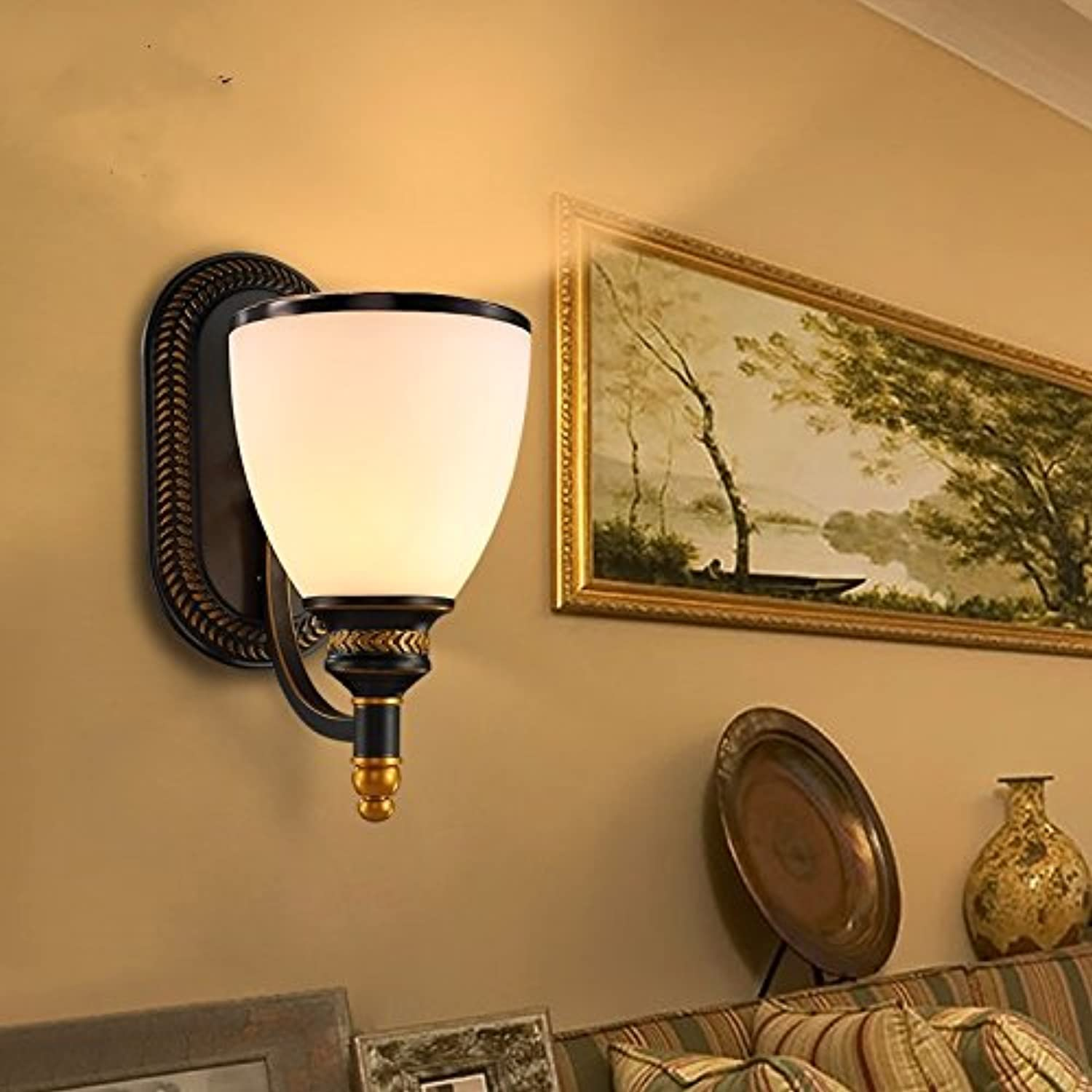 GaoHX Light American-Style Wall Lamp Bedside Lamp Bedroom Aisle Lights The Staircase Corridor Minimalist Retro Decoration-Wall Lighting,Single Head