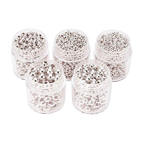 Pandahall,5 Cajas Abalorios espaciador redondas de hierro, plata, 2~5 mm, agujero: 1~2...