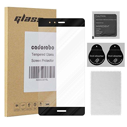 Cadorabo Película Protectora para Huawei P9 Plus en Transparente con Negro - Pantalla de Vidrio Templado Cobertura Completa (Tempered) Compatible 3D con Dureza 9H