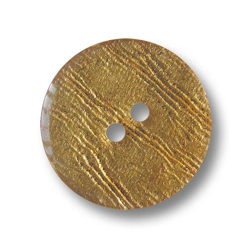 Knopfparadies - Zestaw 10 szt. w kształcie dyskoteki złote dwa otwory guziki z tworzywa sztucznego z nieregularnymi kreskowaniami / kolor złoty, niewielka czarna, z tyłu czarne / guziki z tworzywa sztucznego / Ø ok. 13 mm