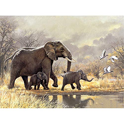 DIY 5D Diamond Painting by Number Kit Elephant Family Full Drill Rhinestone Crystal Diamond Embroidery Pictures Cross Stitch Arts Craft Canvas for Home Wall Decor40x50cm