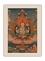 アバロキテシュヴァーラ、チャトゥルブジャ - 仏教絵画 c.1800s - オーガニックキャンバスアートプリント 61 x 81cm