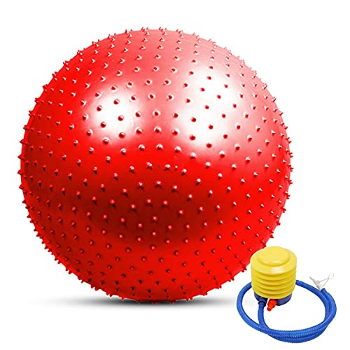 JSBAN 45 cm / 55 cm / 65cm / 75cm Bola de Masaje de púas Deportes Deportes de Yoga Balls Point Gimnasio Gimnasio Balance Fitball Ejercicio Entrenamiento (Color : 55cm Red)