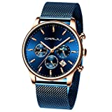 CRRJU Men's Blue Date Quartz Watches Men Sports Waterproof 30M Stainless Steel Chronograph Watch with Mesh Strap