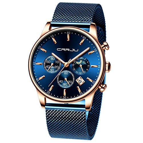 CRRJU - Reloj de Pulsera para Hombre, cronógrafo con Fecha automática, Resistente al Agua, 30 m, Cuarzo, con Correa de Malla