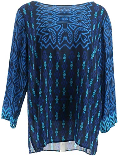 Bob Mackie Global Print Woven Pullover Top Blue S New A341826