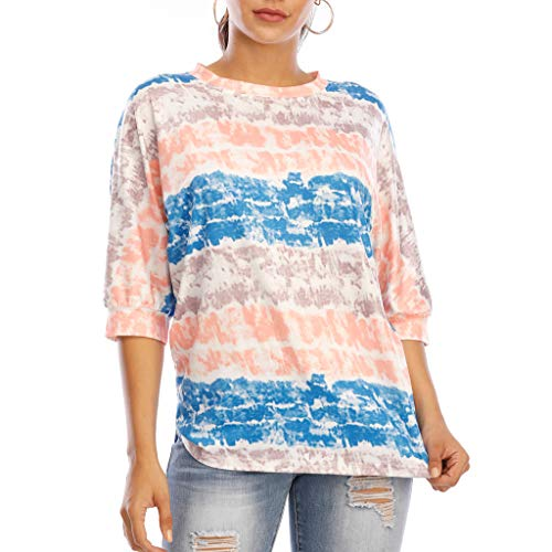 Top for Women Fashion 2020 Tie-dye Round Neck Hooded Sweater Loose 3/4 Sleeve T-Shirt Blue 4XL