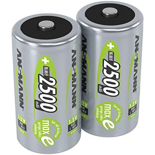 Pile ANSMANN C 2500 mAh NiMH 1,2 V (lot de 2) - batteries rechargeables baby C, faible autodécharge maxE pour une utilisation pendant plusieurs années