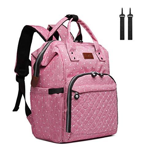 Kono Baby Wickeltasche Wickelrucksack Multifunktions Reise Rucksack mit großer Kapazität und 2 Kinderwagengurten (Rosa)