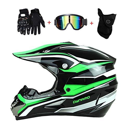 LEENY Motocross-Helm, Herren Crosshelm Schwarz Grün Motorradhelm Set mit Brille Maske Handschuhe, Motorrad Sport Racing Downhill Enduro-Helm ATV MTB Quad Motorräder Off-Road-Helm für Männer Damen,M