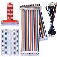 Kuman Raspberry Piに適用キット 400MB-102はんだなしブレッドボード+GPIO T型拡張ボード+2in1虹リボンケーブル+30*ジャンパケーブルワイヤ ラズベリーパイ Raspberry Pi 4B 3 / Zero/ zero W/ 2 / B+ / A+ K80