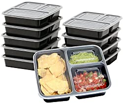 SimpleHouseware 3-Compartment Food Grade Food Prep Storage Container Boxes