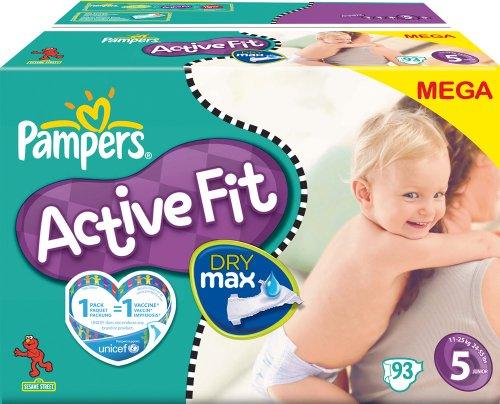PAMPERS Pañales Active Fit Talla 5junior 11–25Kg Mega Pack, 93pieza