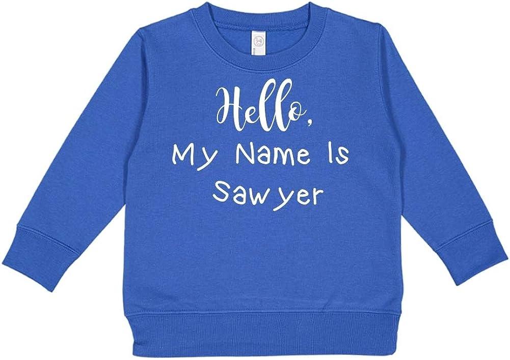 Personalized Name Toddler//Kids Sweatshirt Mashed Clothing Hello My Name is Sawyer