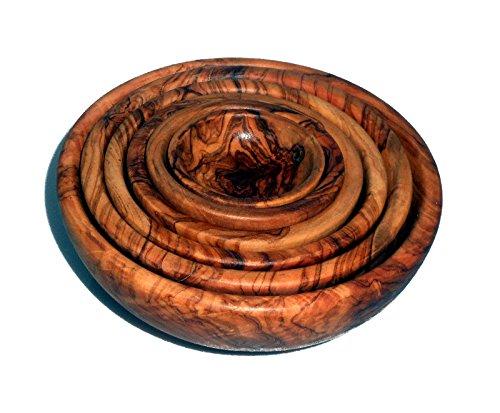 Olivenholz 6er Schüssel-Set Holzschalen Holzschüssel Servierschale Schälchen Schale