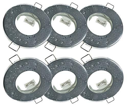 Trango 6 conjunto Foco empotrable empotrable IP44 en cromo TG6729IP-068 Lámpara de techo defectuosa, luces empotradas, focos de techo, focos empotrados, luz de baño, incluido 6x enchufe cerámico GU10
