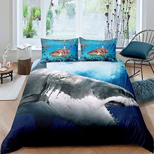 3D Shark Fish Bedding Duvet Cover Twin Ocean Sea Themed Pattern Printed on Blue Comforter Cover,2 Piece Hawaiian Beach Theme Bedding Set Underwater Children Bedspread Cover for Kid Boy Girls Teen