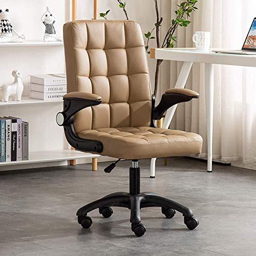 Fengli, sedia da ufficio con ruote e braccioli ribaltabili, altezza regolabile ed ergonomica, con supporto lombare, pelle PU. Sedia da scrivania girevole (colore: cachi).