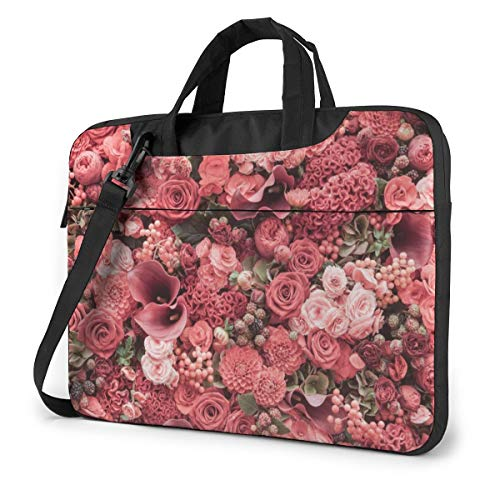Red Flowers Laptop Bag Shockproof Briefcase Tablet Carry Handbag for Business Trip Office 15.6 inch