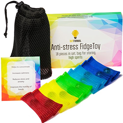 Fidget Toys Anti-Stress Set of 10 pcs with Bag. Premium Quality. Increase Focus, Reduce Stress. For Kids and Adults. Can be Used at School, Home, Office. Help with Autism, ADHD, ADD, OCD, by OutFormal