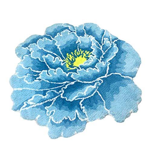CASOFU Flower Area Rug, Pastoral Style Area Rug, Beautiful Blue Flowers Door mat, Bedroom Mat Antiskid Carpet. (Blue)