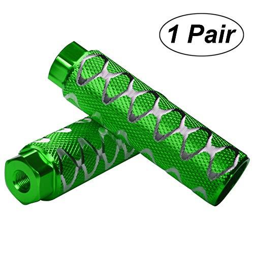 Helaryfreemear, 2 poggiapiedi da bicicletta, in lega di alluminio, per BMX, antiscivolo, per assi da 0,95 cm., Green, 2
