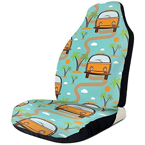 Drew Tours Autositzbezüge Retro Bus Hawaii Elastic Full Autositzschoner Universal Car Seat Zubehör