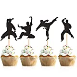 Donoter 48 Pcs Glitter Martial Arts Cupcake Toppers Karate Taekwondo Cake Picks for Kids Birthday Party Table Decorations