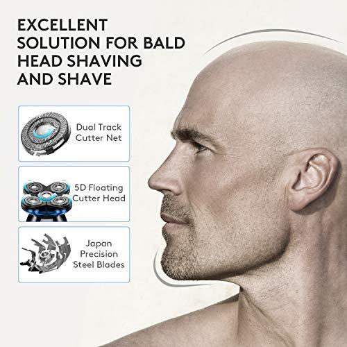 OriHea, rasoio elettrico da uomo, rasoio elettrico per uomo calvo con display a LED, ricarica rapida 5D galleggiante impermeabile rasoio elettrico per uomo con tagliacapelli, tagliacapelli naso blu