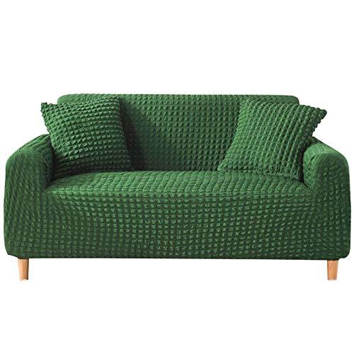 WLVG Funda de sofá elástica, Funda de sofá Gruesa para 1, 2, 3, 4 plazas Protector de Muebles Fundas de sofá Antideslizantes duraderas Funda de sofá-Monocromo Verde Oscuro-3 plazas (190-230CM) 75