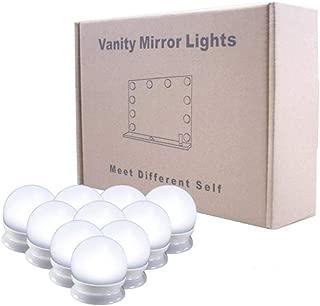 Kinbelle LED女優ミラーライト 10個LED電球 USB給電 調光可能 両面テープ 穴開け不要 撮影・照明・化粧 化粧台/洗面台/浴室/ホテルなど適用