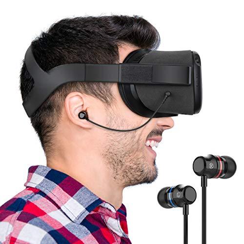 KIWI design Oculus Quest 専用インイヤーヘッドホン イヤホン ステレオ 高音質 オキュラス クエスト用 (ブラック 1対セット)