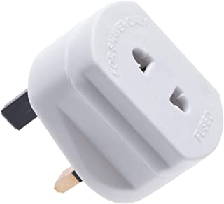 Toothbrush Adaptor Plug UK Charger Adapter Shaver Socket 2 Pin to 3 Pin Electric Converter for Razor Plugs Bathroom Two to Three Prong Charging Tooth Brush Plugs Adapters Electrical Shaving (White)