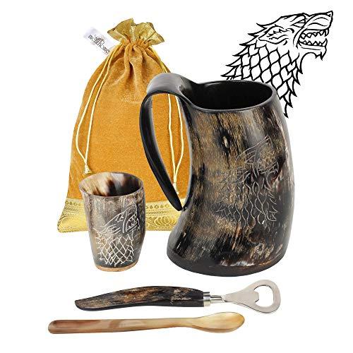 MENTHOME Game of Thrones Inspired Stark Medieval Norse Style Polished Drinking Horn Mug - Horn Shot Glass   Bottle Opener   Golden Gift Bag   Large Horn Spoon   20 Oz. (GOT Stark Mug)