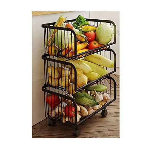 TWW Estantes de Cocina, cestas de Almacenamiento Multicapa de Piso a Techo para cestas de Almacenamiento de Frutas y Verduras, carros móviles para Almacenamiento,1