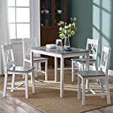 Panana Solid Wood Pine Dining Table Setand 4 X Shape Chairs Set Kitchen Room Furniture (White+Grey)