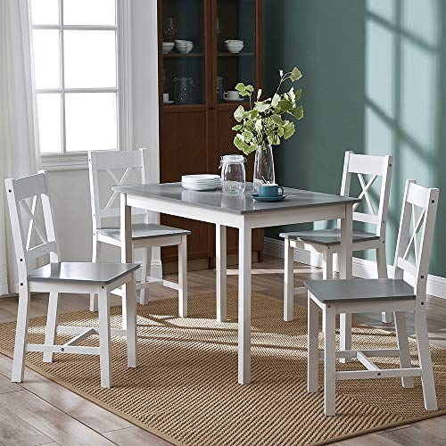 Solid Pine Wooden Dining Table and 4 Chairs Set Home Kitchen Furniture Set,White/Grey(X Shape)