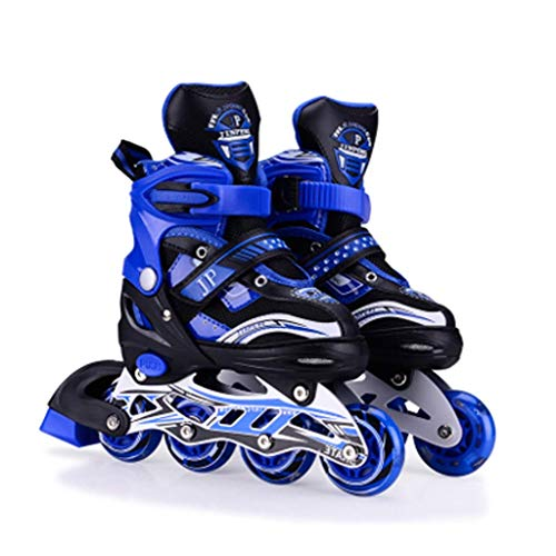Taoke Kinder Inline Skates, Spaß Blinken Einstellbarer Jungen und Mädchen Roller Skates, Jugend Studenten Professionelle Roller Skates (Farbe: Blau, Größe: S (EU 31-34)) dongdong