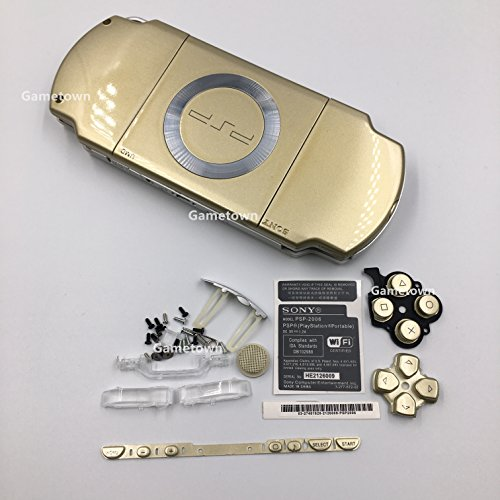 New Replacement Sony PSP 2000 Console Full Housing Shell Cover with Buttons Set -Gold.