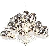 Kare Hängeleuchte Silver Balloons, Schirm: Glas gefärbt, Baldachin: Stahl verchromt, Silber
