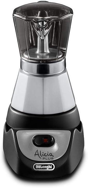 Caffettiera moka elettrica 2-4 tazze, 450 w, nero/argento de`longhi alicia plus emkm4.b