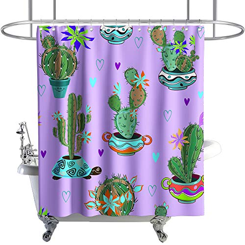 Plants Shower Curtain Floral Cactus Succulent Theme Cloth Fabric Bathroom Decor Sets with Hooks Waterproof Washable 72 x 72 inches Green Purple and Blue