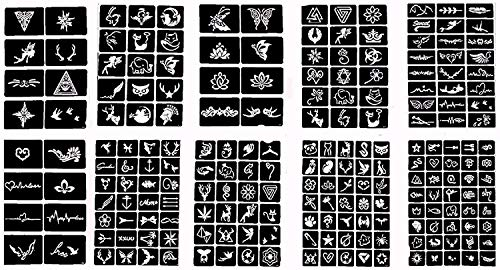 Professional Tattoo Stencil +100 Self-adhesive Temporary Tattoo Templates for Henna/Airbrush/Face paint/Glitter