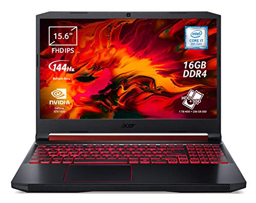 Acer Nitro 5 AN515-54-75AD Notebook Gaming con Processore Intel Core i7-9750H, RAM 16GB DDR4, 256GB PCIe SSD, 1TB HDD, Display 15.6' FHD IPS LED LCD 144Hz, NVIDIA GeForce GTX 1650 4GB, Windows 10 Home