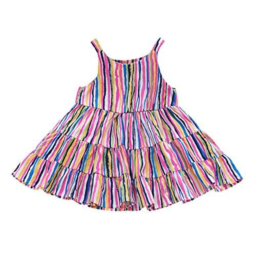 LEXUPE Mode Baby Kinder Mädchen Sommer Ärmelloses Blumendruck Kuchen Riemen Kleid(C-Mehrfarbig,140)